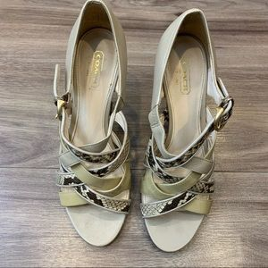 Coach Evie Strappy Heels Q560 Dove/Natural Snake